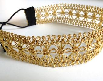 Wide Gold Lace Headband