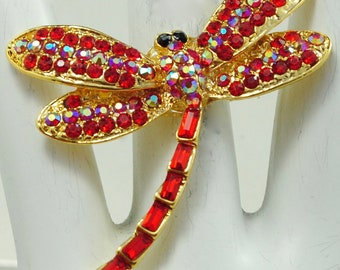 Dragonfly Statement Ring/Gold/Red/Aurora Borealis/Rhinestone/Spring/Summer JewelryGift For Her/Adjustable/Under 20 USD