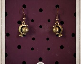 GLOBES earrings bronze small globes BOB008