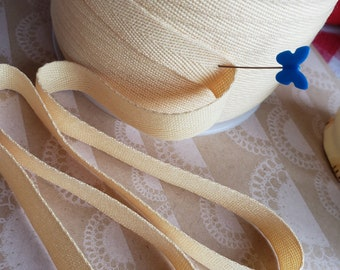 """BUTTER YELLOW Twill Tape Trim - Polyester Sewing Bunting Banners Shipping Packaging - 1/2"""" Wide - 10 Yards"""