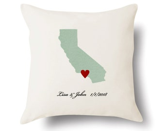 California Pillow - California Gift - Personalized CA State Map Pillow - 4 Color Choices
