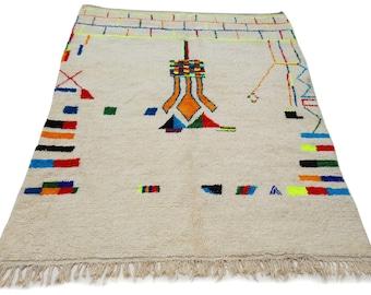 10'X6' ft / Handmade Moroccan rug Beni Ourain 100% Wool / Azilal Rug / Boucherouite Rug / Beni Ouarain / Moroccan Kilim