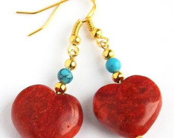 Statement Jewelry Red Heart Earrings Turquoise and Coral Earrings Red Sponge Coral Heart Turquoise Earrings Gold Earrings Gift for dad