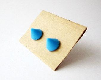 Blue spike stud earrings, Small plastic studs, Blue plastic posts, Small cone post earrings, Girls blue earrings, Women post earrings