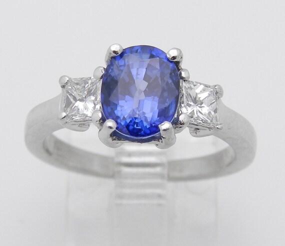 Platinum Sapphire and Diamond Three Stone Engagement Ring Princess Cut Size 5.5