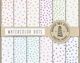 AQUARELE DOTS, Watercolor Confetti Digital Paper, Watercolour Dots, Watercolor Patterns, Commercial Use, Don't Forget Use Coupon Code!