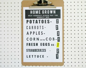 SALE Home Grown Vegetables Print A4 Grow Your Own Allotment Poster Art Black on White