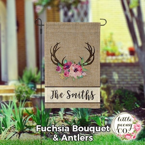 Personalized Garden Flag - Antler and Floral Bouquet Faux Burlap - Custom Yard Flag - Faux Burlap - Personalized Yard Flag