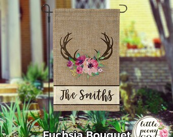 garden flags personalized. Personalized Garden Flag - Antler And Floral Bouquet Faux Burlap Custom Yard Flags ,
