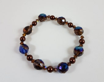 Blue and Brown Cut Glass Iridescent Bracelet