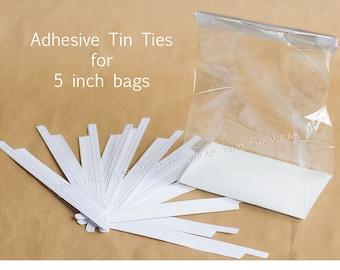 50 - Adhesive Tin Ties for 5-inch Bags - Pressure Sensitive Peel and Stick Closure for Paper & Plastic Gusset Bags