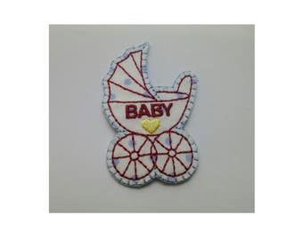 Baby Pram Iron On Applique, Baby Iron On Patch, Baby Patch, Kids Patch, Embroidered Patch (SW01)