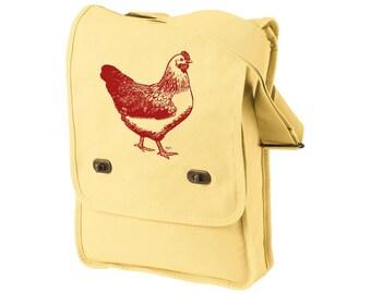 Backyard Chickens Cross-body field bag, Messenger Bag, Chicken Coop, Farm Animal,  Urban Farmer Gift, Pigment Dyed Cotton Canvas Tote Bag