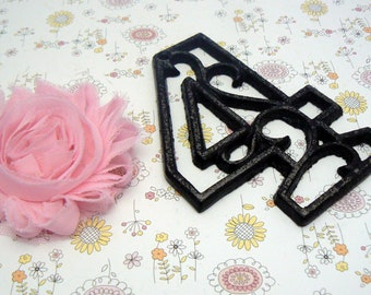 """House Mailbox """" Number 4 Four """" 4.5 Inches Cast Iron Black Shabby Elegance Distressed Victorian Swirl Table Address Accent Number #4"""