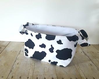 Fabric Storage Basket - Diaper Caddy - Cow Print  - Toy Storage