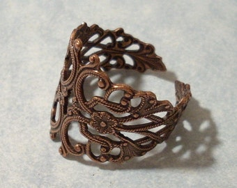 Adjustable Copper Filigree Ring, Adjustable Copper Ring, Adjustable Ring