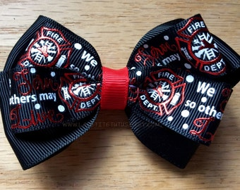 Fireman hairbow, we serve so others may live, first responder hairbow, firfighter support, firefighter badge, fireman, girls hairbow