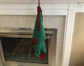 Hand Knit Christmas Stocking - green, red, bow trim, large
