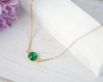 Emerald Necklace Gold Emerald Pendant Sterling Silver Emerald Choker Necklace May Birthstone Necklace Small Necklaces Dainty Necklaces