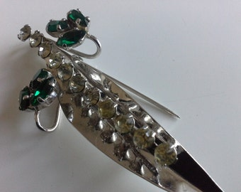 Gay Charm by Donald Simpson Designer Modernist Silver Leaf Brooch Emerald Green & Clear Paste Rhinestones Vintage c 1970s