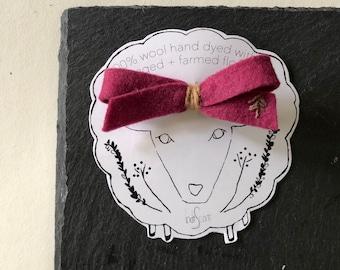 Fuchsia & Cedar - Natural Dye Wool Hair Clip