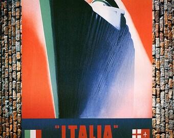 Italia Boat Ameriques Pacifique Vintage Travel Ad, Steamship Travel Art, Vintage Ad, Vintage Art, Giclee Art Print, Fine Art Reproduction
