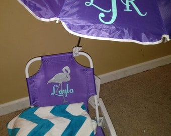 Toddler Kids Childrens Beach Chair, Umbrella and Towel Monogrammed Personalized Purple pink blue green