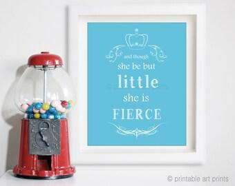 She be fierce print, nursery art, 5x7 8x10 11x14 wall art, printables, instant download, nursery decor. Girl nursery. girl power.
