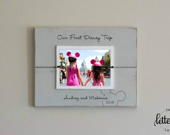 Disney Picture Frame, First trip to disney, Personalized Photo Frame, Disney Vacation Frame