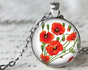 Poppies Pendant Necklace or Key Chain - Choice of 4 Bezel Colors - Red Flowers, Poppy Pendant, Poppy Key Chain, Poppy Necklace