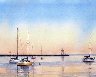 Lake Superior Grand Marais North Shore watercolor ART PRINT 14 x 21