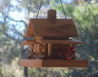 Rustic Log  Cabin Feeder