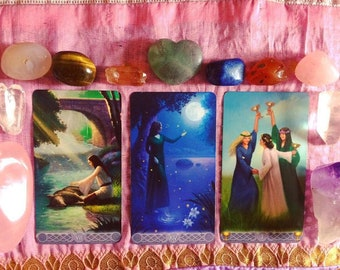 Triple Goddess Tarot Card Reading, Divination, Intuitive Reading using Crystals