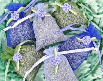 Organic Lavender Sachets 6 Pack Green Purple Lavendar 2x3 sachets with ribbon Flower freshly made for you Party Favors bridal shower wedding