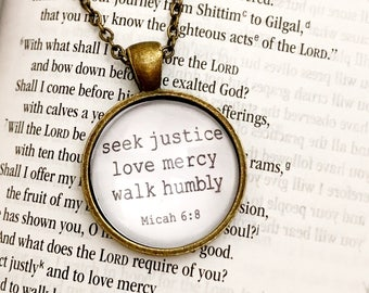 Seek Justice, Love Mercy, Walk Humbly Necklace // Micah 6:8