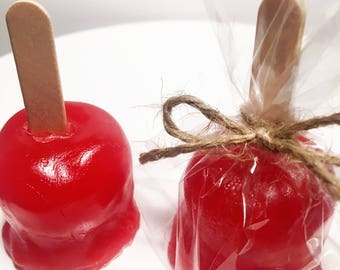 2 Mini Candy Apple Soaps, teachers gift, fall soap, Apple soap, stocking stuffer, kids soap