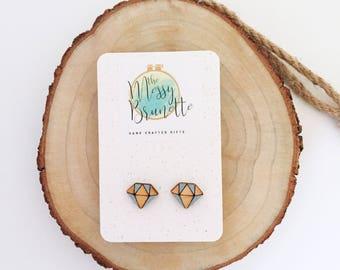 Everyday Earrings, Wood Earrings, Laser Cut Wooden Earrings, Geometic Blue Everyday Earrings, Laser Cut Jewellery, Minimalist Earrings