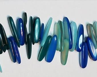 "Fabulous Shades of Blue Seabreeze Shell Stick Beads 20mm 5"" strand"