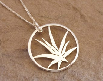 Aloe in Circle Sterling Silver Pendant on Chain