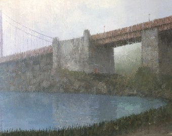 Golden Gate Bridge, Panoramic Landscape Painting, Signed Fine Art Print 26x9 inches