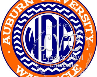 Alabama or Auburn Inspired Circle decal