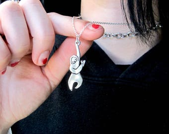 Sloth Necklace - Pewter Hanging Sloth Pendant