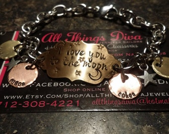 I LOVE you to the MOON & back.. handstamped BRACELET with name on stainless steel large cable chain