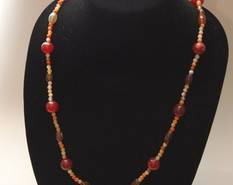 """Carnelian and Agate necklace  35"""""""