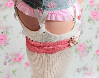Coral RED Elastic Lace GARTER w Boho shabby rose gift set - bridal wedding accessories - Burlesque lace lingerie - Boho Bridal Lingerie