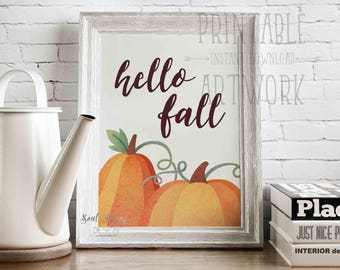 Hello, Fall | Pumpkins | Seasonal Fall Art | Thanksgiving Print | Watercolor | Printable Quote | Downloadable Prints