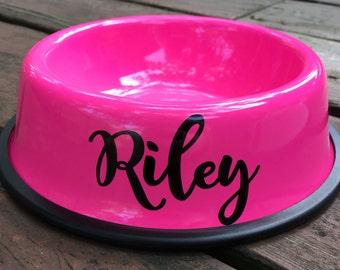 Personalized Pink Dog Bowl - Custom Dog Bowls - Personalized Dog Bowl - Dog Dish - Personalize Dog Bowl - Dog Food Bowl - Dog Bowl with Name