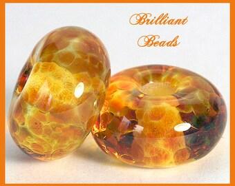 Liquid Honey Gold Spacer Bead Pair...Handmade Lampwork Beads SRA, Made To Order