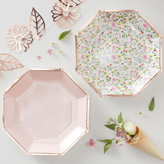 Like this item?  sc 1 st  Etsy & Paper Plates Rose Gold Decorations Floral Plates Party