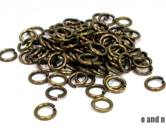 Antique brass jump rings, 7.5mm  - 20 pieces